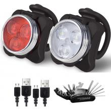 Valuetom Bike Headlight and Taillight Set with Portable Repairing Kits, Rechargeable Waterproof Mult...